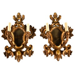 Pair of Italian Gilt Wood Wall Sconces. circa, 1920