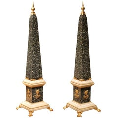 A Pair of Italian Green Porphyry and White Carrara Marble Obelisks with Ormolu