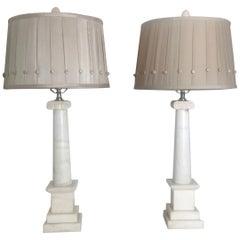 Pair of Italian Marble Column Lamps