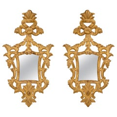 Pair of Italian Mid-18th Century Baroque St. Giltwood Mirrors