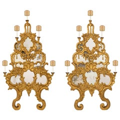 Pair of Italian Mid-18th Century, Mirrored Giltwood Baroque Sconces