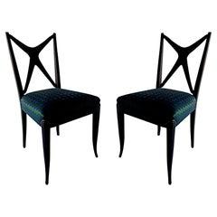 "Pair of Italian Modern Black Lacquer ""X-Back"" Chairs, Guglielmo Ulrich"
