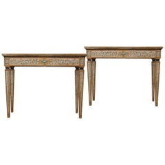 A Pair of Italian Neoclassical Style Polychrome Console Tables with Siena Marble