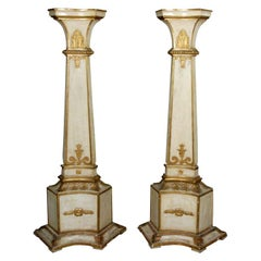 A Pair of Italian Piedmontese Painted and Gilded Pedestals