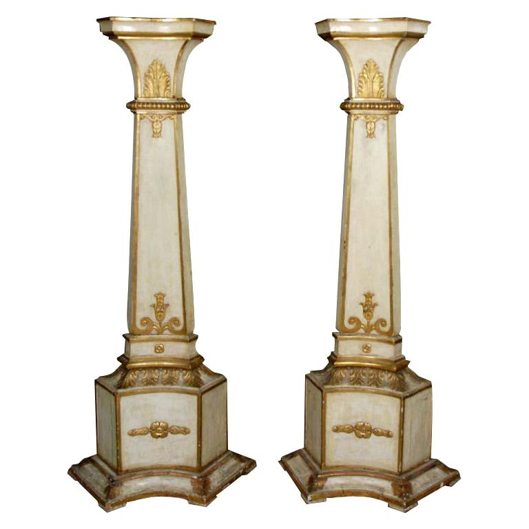 A Pair of Italian Piedmontese Painted and Gilded Pedestals For Sale