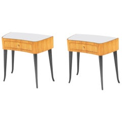 Pair of Italian Readed and Ebonized Side Tables