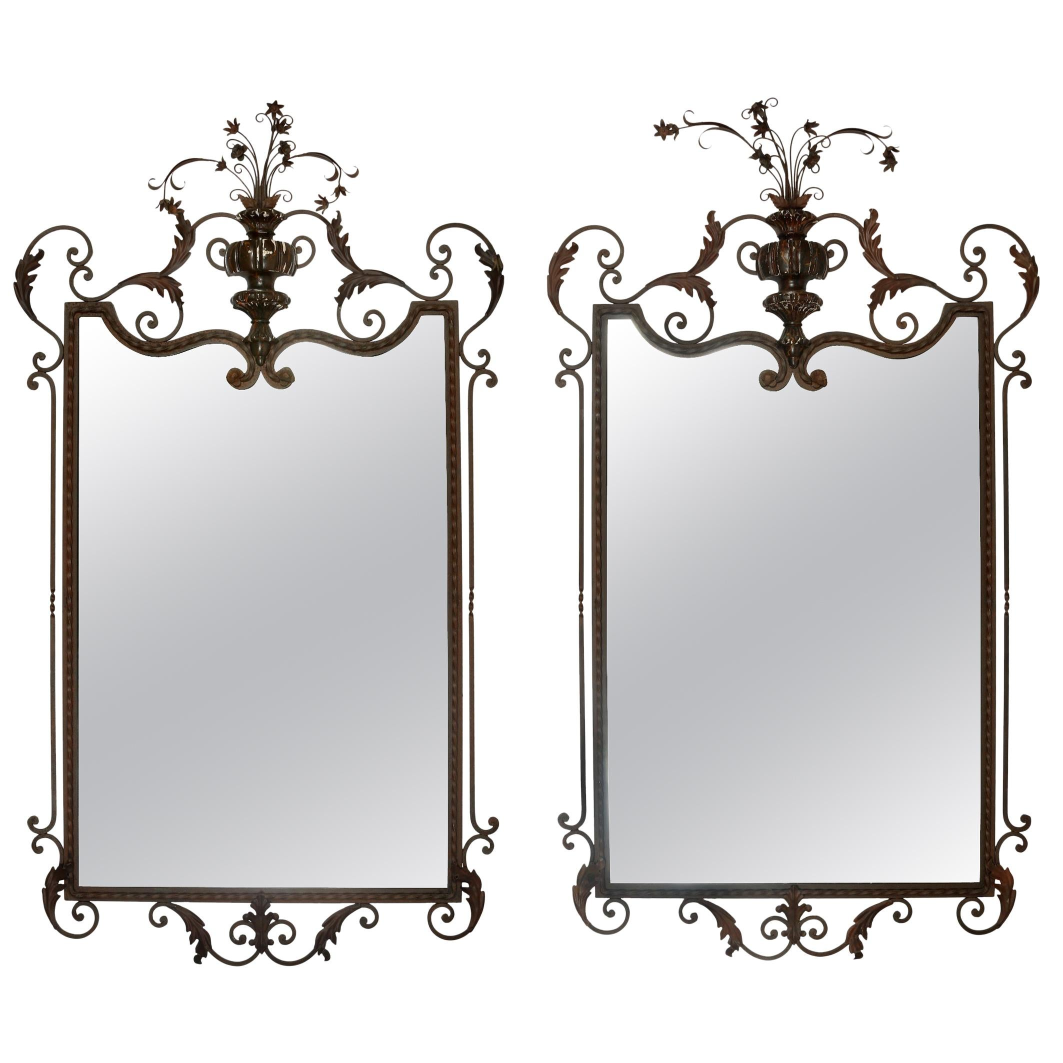 Pair of Italian Shell Motif Carved Wood Mirrors