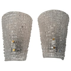 Pair of Italian Structured Ice Glass Sconces, 1960s
