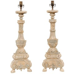 Pair of Italian Style Hand-Carved and Painted Tall Candlestick Table Lamps