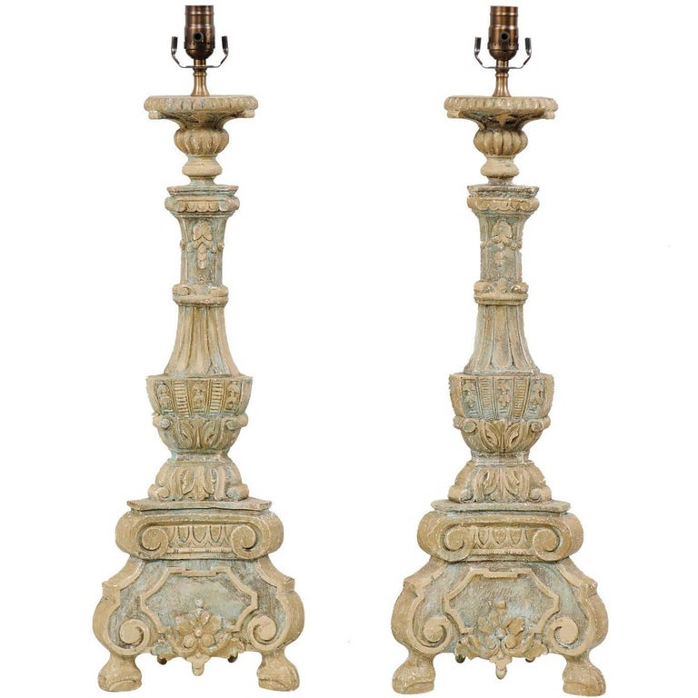 Pair of Italian Style Ornate Hand-Carved and Painted Tall Table Lamps