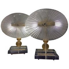 Pair of Italian Table Lamps Murano Glass in the Style of Barovier & Toso 1960