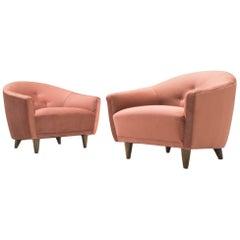 Pair of Italian Velvet Armchairs, 1960s