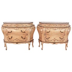 Pair of Italian Vintage Painted Bombe Commodes