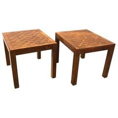 A Pair of Italian Walnut Parquet Parson Side Tables, Circa 1970's