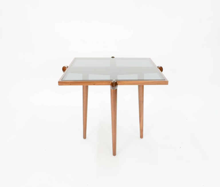 Pair of Italian Walnut Side Table Inspired by Gio Ponti In Good Condition For Sale In Portland, OR