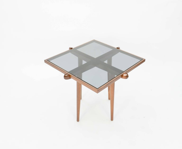 Mid-20th Century Pair of Italian Walnut Side Table Inspired by Gio Ponti For Sale