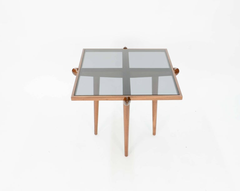 Pair of Italian Walnut Side Table Inspired by Gio Ponti For Sale 1