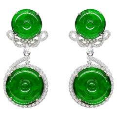 Pair of Jadeite and Diamond Earrings in 18 Karat White Gold