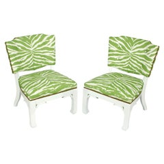 Pair of James Mont Chairs in Green and White Zebra Fabric
