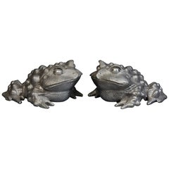 Pair of Japanese Bronze Toads