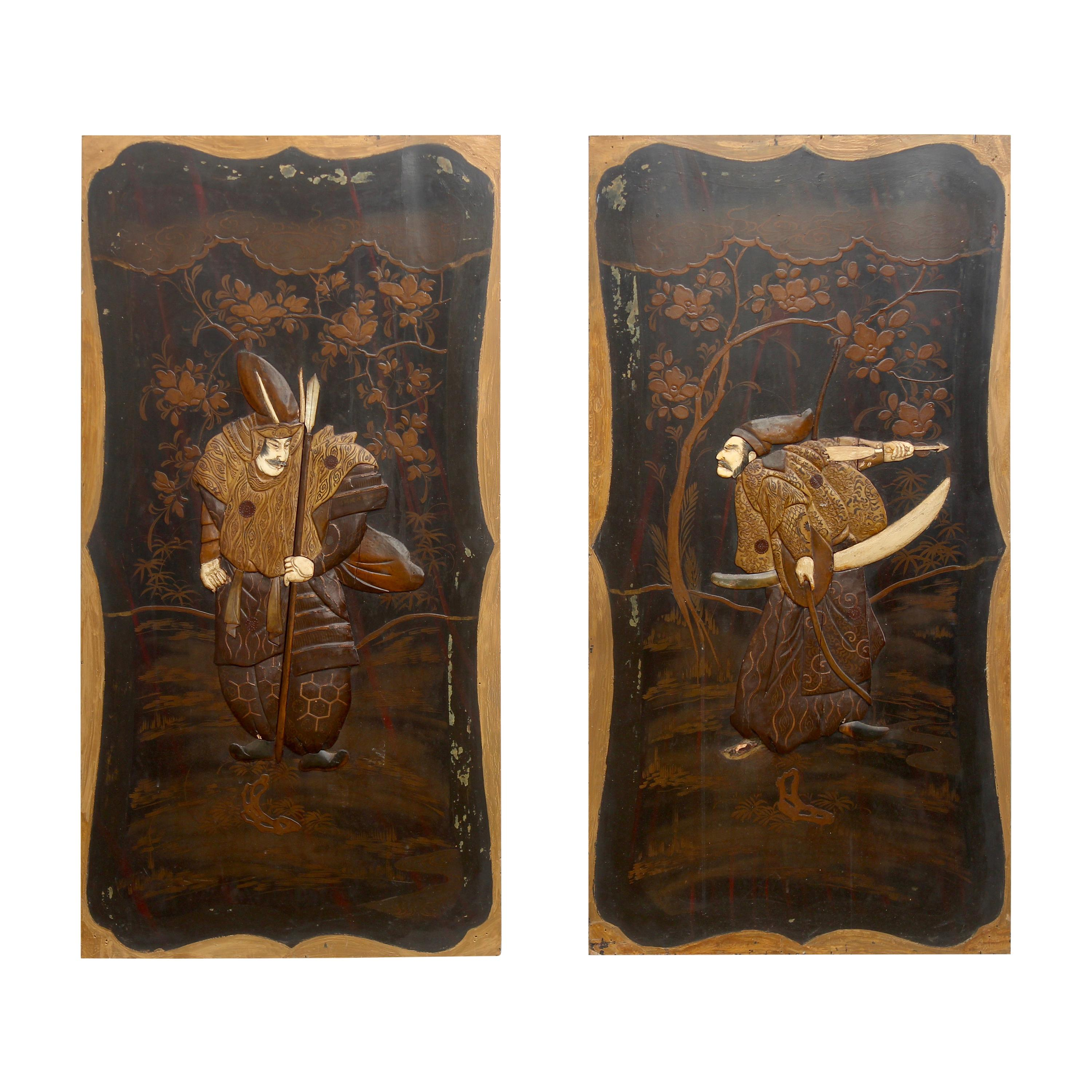 Pair of Japanese Inlaid and Lacquered Panels Meiji Period, Late 19th Century