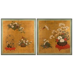 Pair of Japanese Two-Fold Screens with Flower Arrangements and Rare Birds