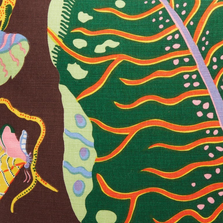 Contemporary Pair of Cushions in Josef Frank Hawaii Pattern Textile For Sale
