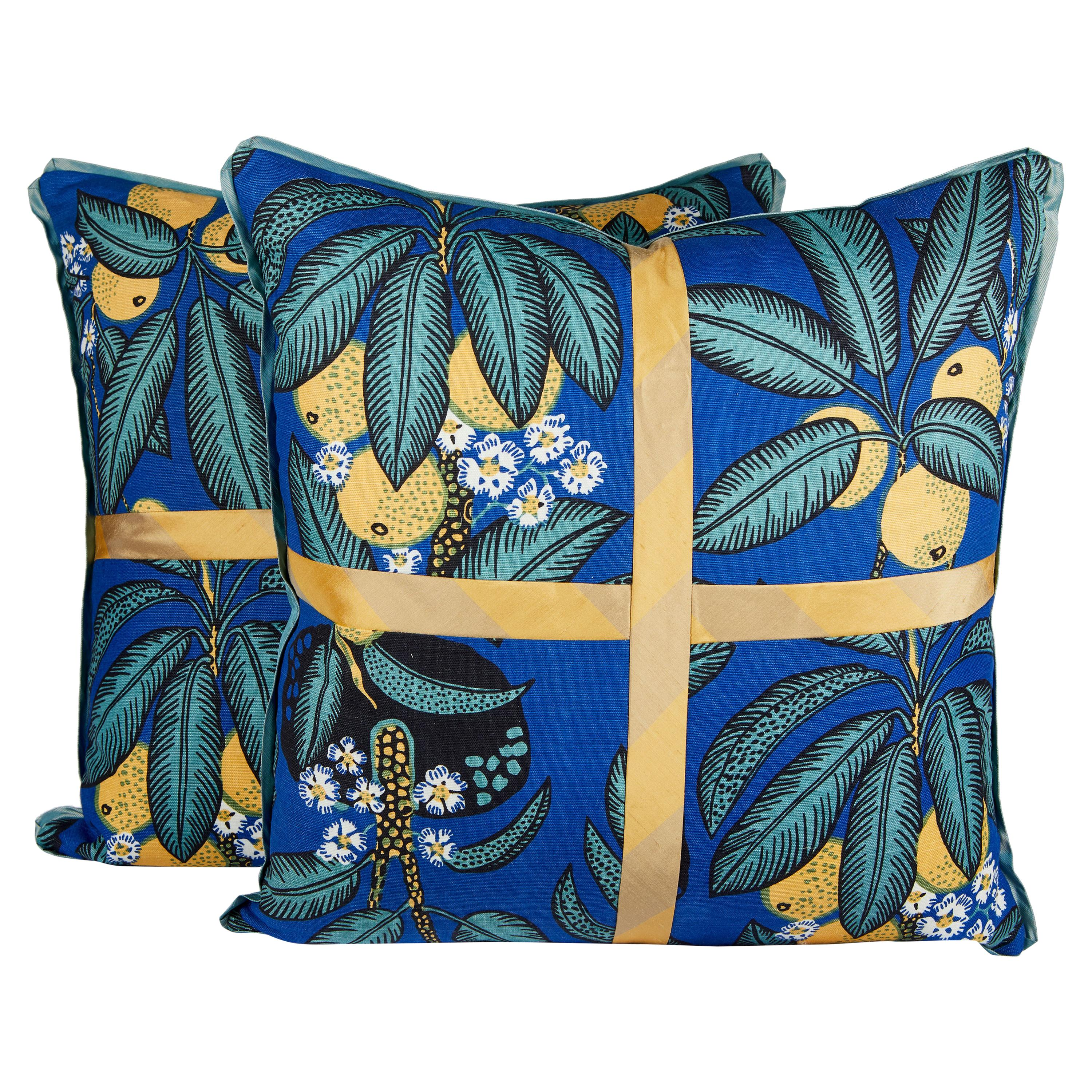Pair of Josef Frank Cushions in the Notturno Pattern