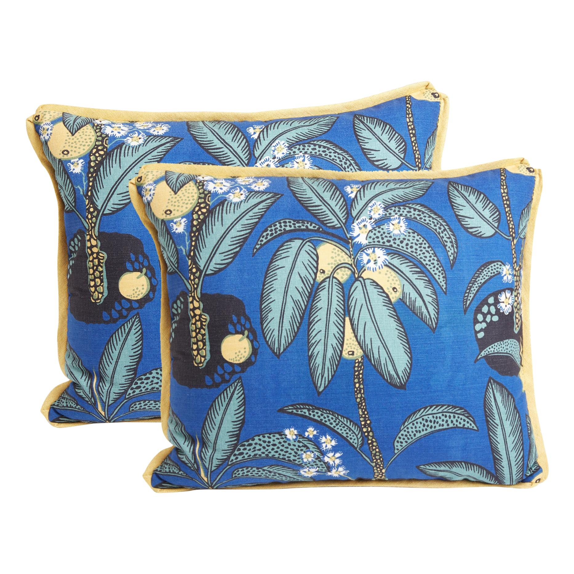 Pair of Josef Frank Rectangular Cushions in the Notturno Pattern, Silk Backing