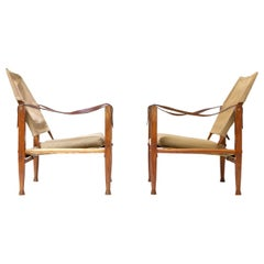Pair of Kaare Klint Canvas Safari Chairs, Denmark, 1950s