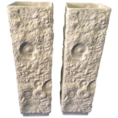A pair of Kaiser Large White Fossil Rock Matte Porcelain from Germany