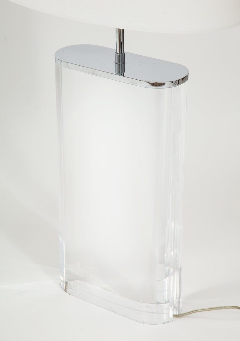 Pair of Karl Springer Large Lucite Table Lamps, circa 1982-1984 For Sale 1