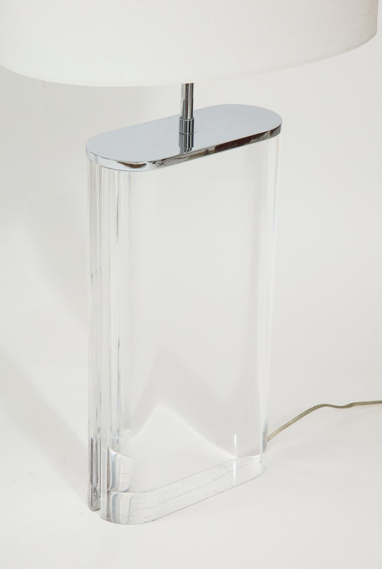 Pair of Karl Springer Large Lucite Table Lamps, circa 1982-1984 For Sale 2