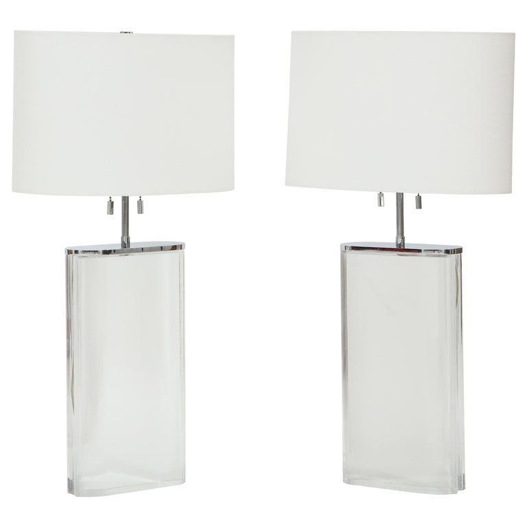 Pair of Karl Springer Large Lucite Table Lamps, circa 1982-1984 For Sale