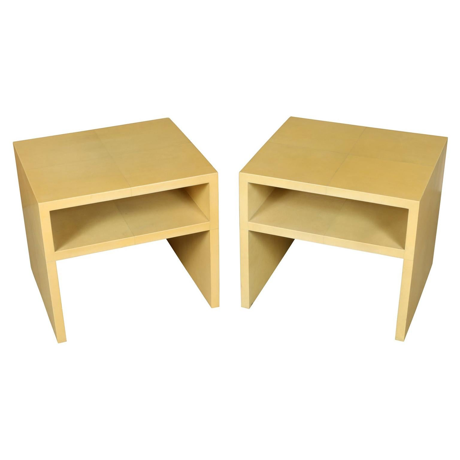 Pair of Karl Springer Style End Tables in Parchment