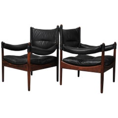 Pair of Danish Midcentury Lounge Chairs, Kristian Vedel, Fully Reupholstered