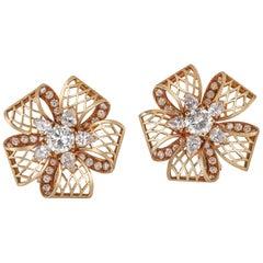 Pair of Kutchinsky Yellow Gold and Diamond Earclips