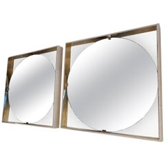 Pair of Lacquered Parchment and Brass Modern Square Wall Mirrors, Italy 2000