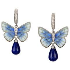 A Pair of Lapis Butterfly Earrings by Ilgiz F