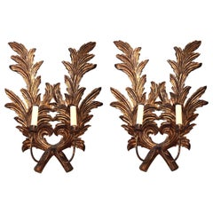 Pair of Large 1940s Italian Carved Giltwood Leaf Sconces with Two Fittings