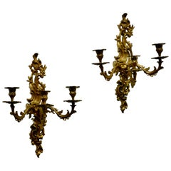 Pair of Large 19th Century Baroque French Brass Triple Wall Sconces