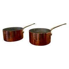 Pair of Large 19th Century Brass Handled Copper Pots This is a Lovely Looking