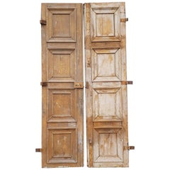 Pair of Large 19th Century French Oak Doors with Square Panels