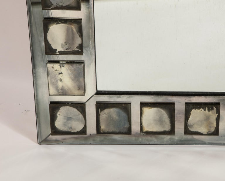 Hand-Crafted Pair of Large Antique French Art Deco Geometric Rectangular Mirrors For Sale