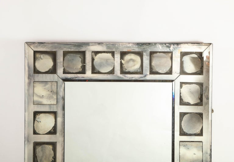Pair of Large Antique French Art Deco Geometric Rectangular Mirrors For Sale 3
