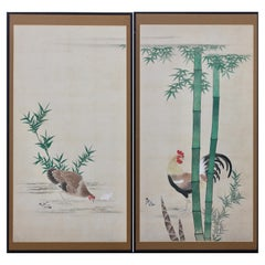 Pair of Large Antique Japanese Paintings