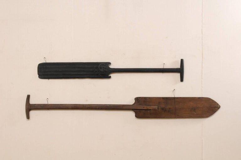 Indian Pair of Large Boating Oars from Kerala, South India with Hand-Carved Motif For Sale