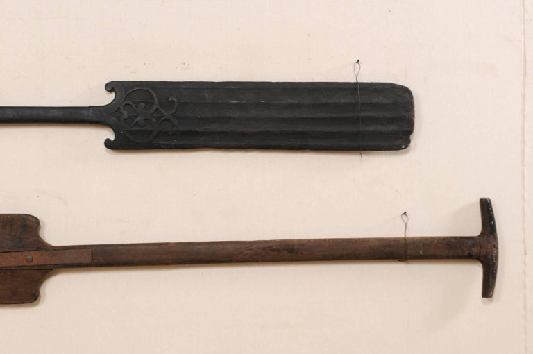 20th Century Pair of Large Boating Oars from Kerala, South India with Hand-Carved Motif For Sale