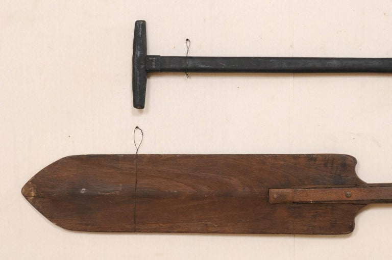 Wood Pair of Large Boating Oars from Kerala, South India with Hand-Carved Motif For Sale