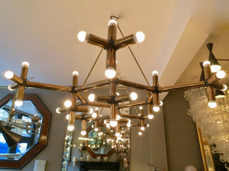 Pair of Large Brass French Tubular Geometrical Ceiling Lights For Sale 7